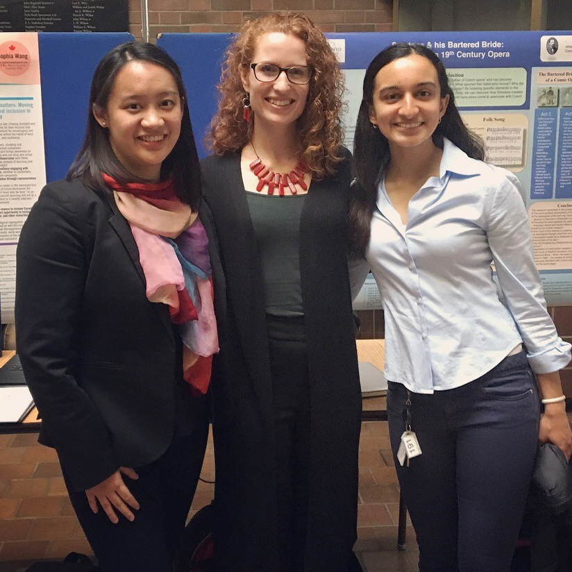 Inaugural Undergraduate Music Research Showcase winners Sophia Wang, Elizabeth Legierski, and Shreya Jha