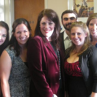 Opera Students Aviva Fortunata, Alyson Spina, Giovanni Spanu, Jennifer (Schinzel) Mizzi, and Julia Barber with Sondra Radvanovsky (centre) following master class, 8 October 2010.