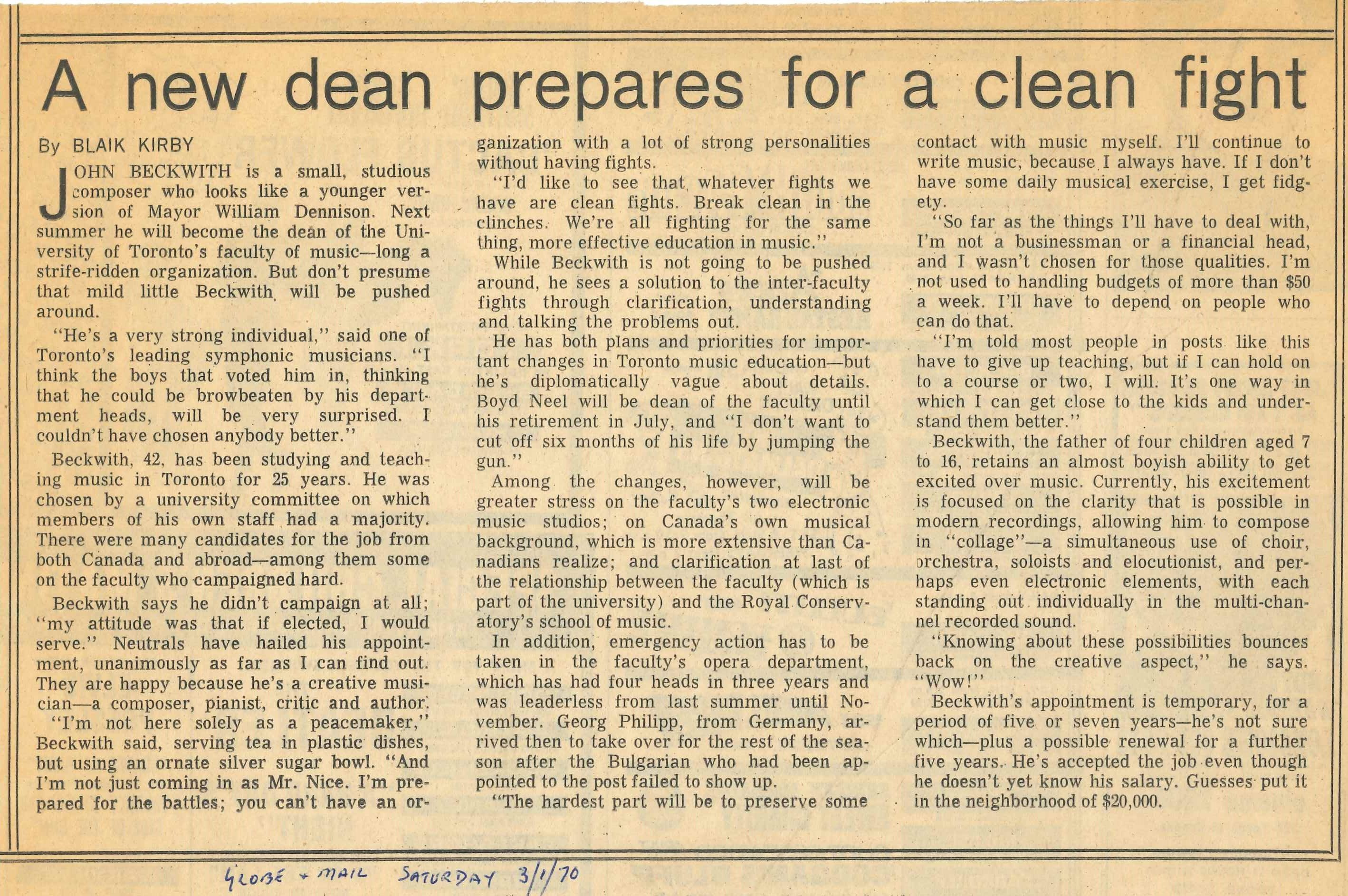 Beckwith new Dean article Globe 1 March 1970