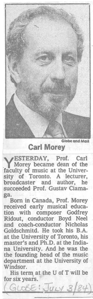 Notice in the Globe & Mail for new Dean Carl Morey, 3 July 1984.Notice in the Globe & Mail for new Dean Carl Morey, 3 July 1984.