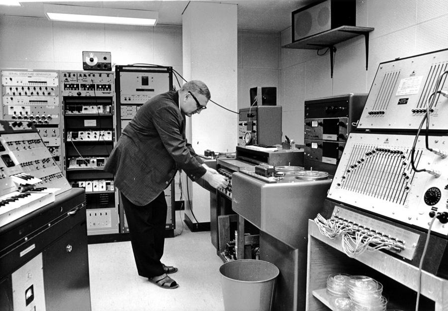 Professor Gustav Ciamaga in the Electronic Music Studio, early 1960s