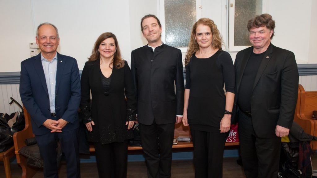 University of Toronto President Meric Gertler, Lisette Canton, Head of Choral Music at York University, Daniel Taylor, Head of Early Music at the University of Toronto, the Governor General of Canada, Her Excellency The Right Honourable Julie Payette, and Dean Don McLean, University of Toronto Faculty of Music, 4 March 2018.