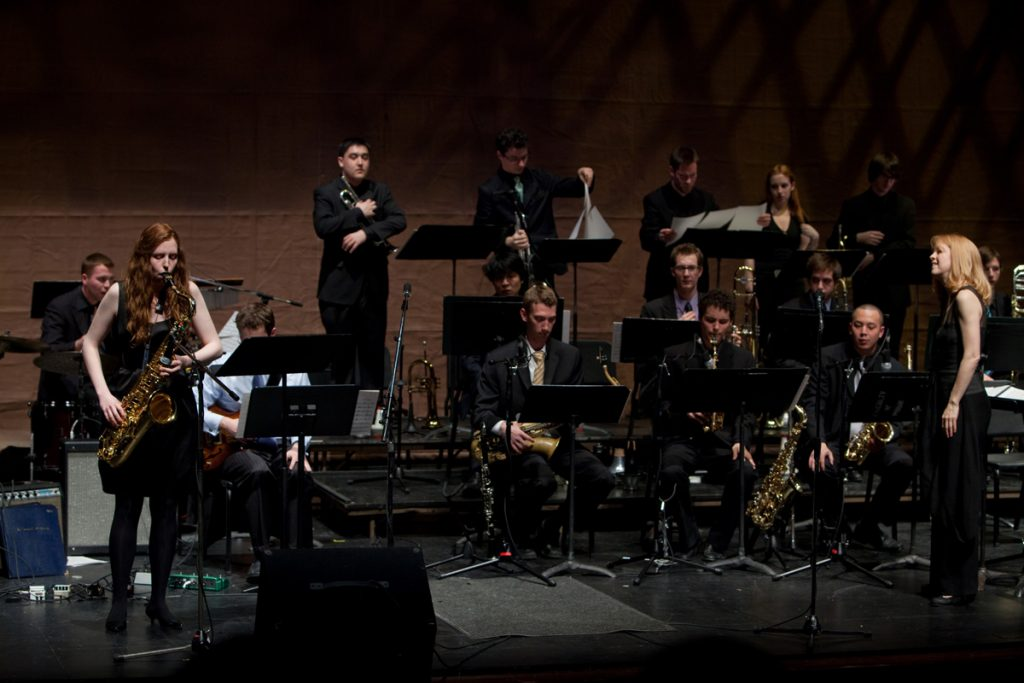 U of T 10 O'Clock Jazz Orchestra with Shannon Graham on saxophone, conducted by Maria Schneider, 2009.