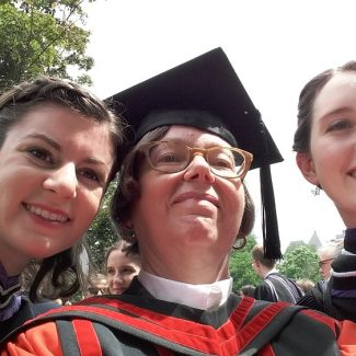 Professor Catherine Moore (centre) with members of the first cohort of Music and Technology program graduates Lora Bidner (left) and Kathryn Henzler, 12 June 2017.
