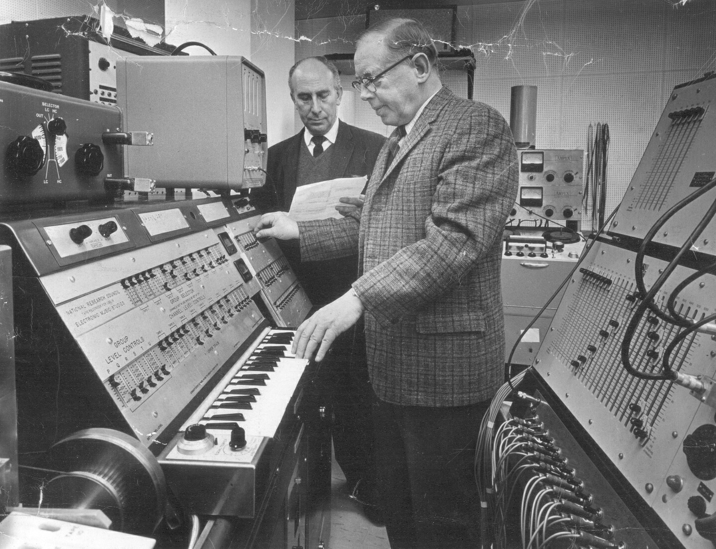 Professors Myron Schaeffer and Arnold Water in the Electronic Music Studio in the Edward Johnson Building, early 1960s