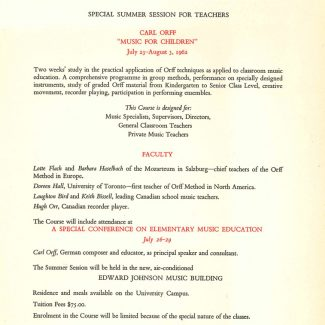 Orff Summer Session flyer 1962
