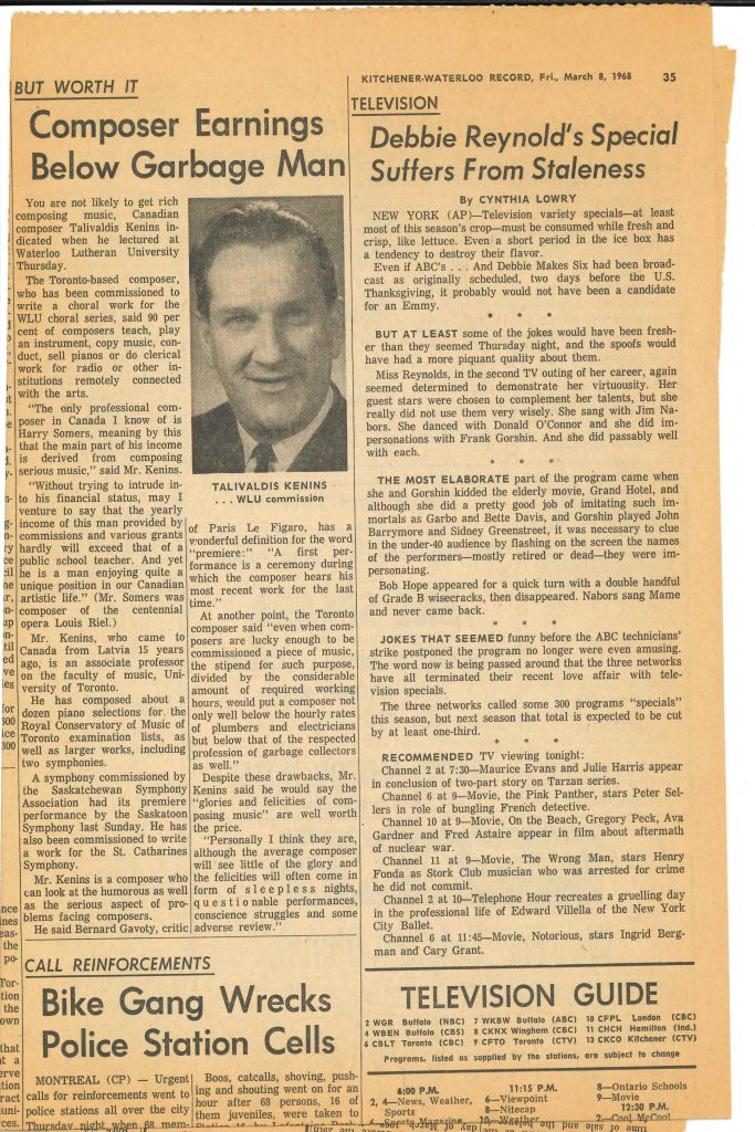 Kenins Kitchener-Waterloo Record article 8 March 1968