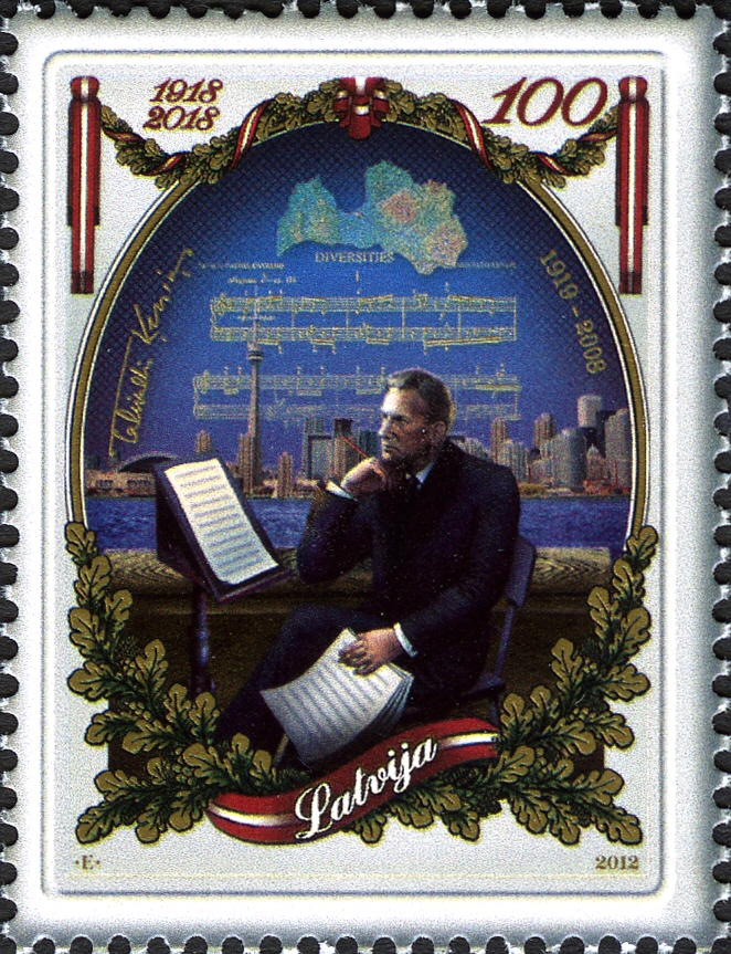 Tavaldis Kenins on Latvian stamp, 2012