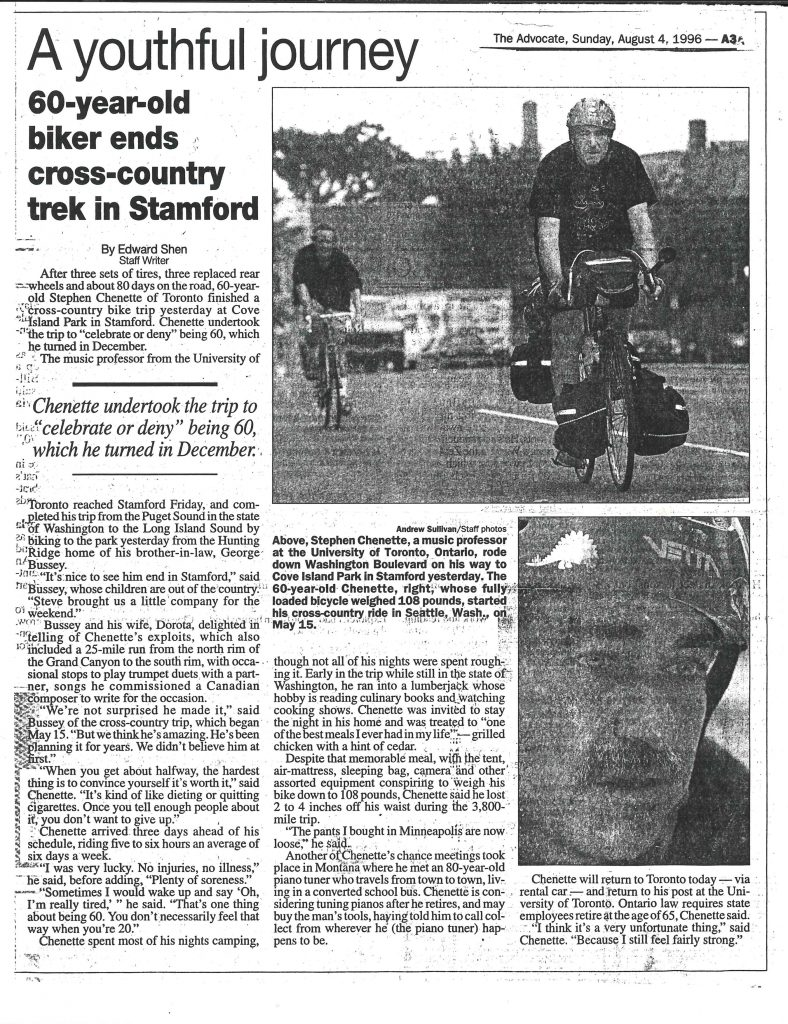 Stephen Chenette bicycle trip article 4 August 1996