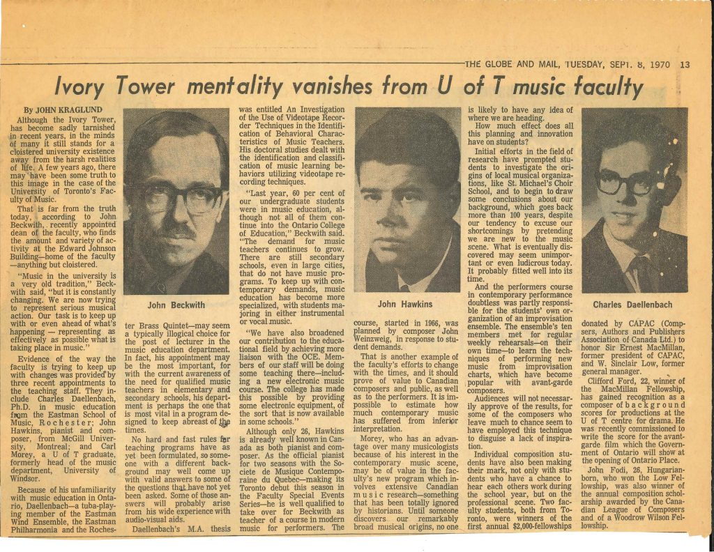 Ivory Tower Mentality Vanishes Globe article 8 Sept 1970
