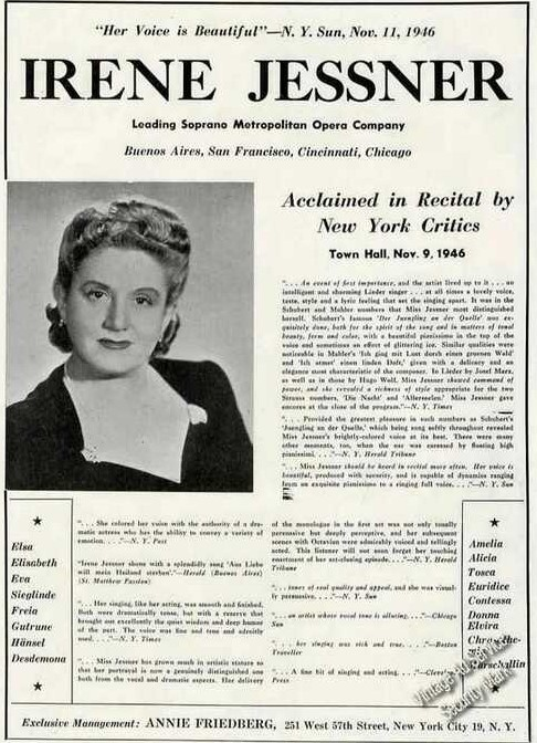 Irene Jessner newspaper ad 1946 from Vintage Ad services