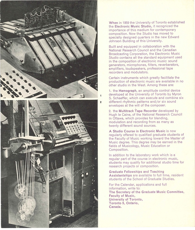 Electronic Music brochure UofT Music p2of2 1963