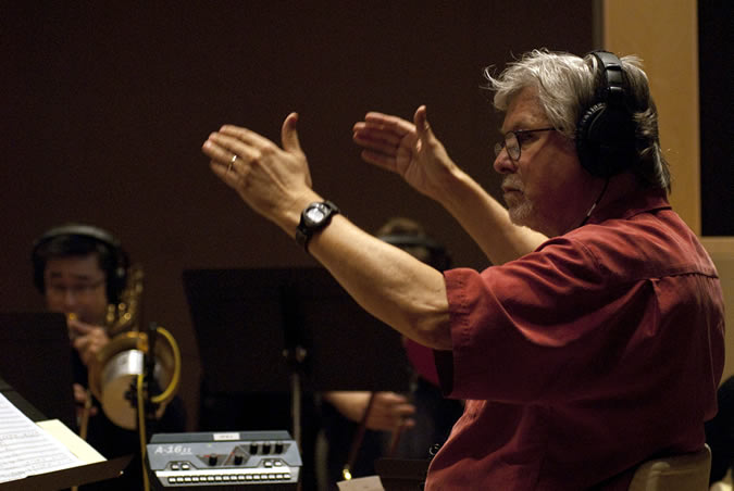 Paul Read conducting in recording studio